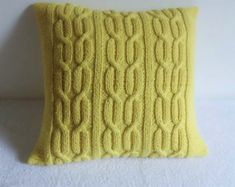 Custom Gold Hand Knit Pillow Cover Knit Throw by Adorablewares
