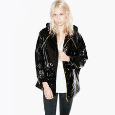 Hooded Patent Leather Jacket