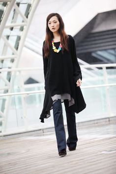 Lagenlook Ethnic Dress Long Sleeve Loose Fitting Shirt Coat Dress in Black Cotton Dress - NC220