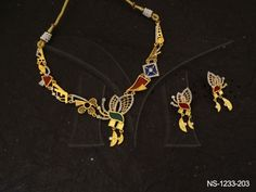 NS-1233-203 GEOMETRIC SHAPED WINGY FUSION AD NECKLACE SET