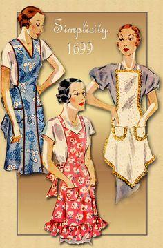 Vintage Apron Pattern Simplicity 1699 Bibbed Apron with Three Different… Vintage Apron Pattern, Retro Apron, Aprons Vintage, Vintage Sewing Patterns, Apron Patterns, Dress Patterns, 1940s Fashion, Vintage Fashion, Flirty Aprons
