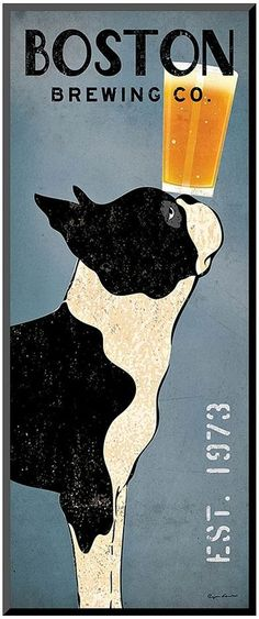 Enjoy a beer with your Boston Terrier under this Art.com ''Boston Terrier Brewing Co.'' panel wall art. <ul> <li>Attached sawtooth hook makes hanging simple. PRODUCT DETAILS</li> <li>20''H x 8''W x 0.5''D</li> <li>MDF, paper</li> <li>Vertical display</li> <li>Attached sawtooth hook</li> <li>Wipe clean</li> <li>Model no. 13125173</li> <