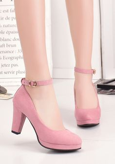 pink shoes Pink Round Toe Chunky Buckle Fashion Hi - Stilettos, Pumps Heels, Stiletto Heels, Heeled Sandals, Flats, Prom Heels, Studded Heels, Pink Shoes, Women's Shoes