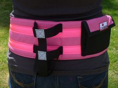Deluxe Walking Belt with pocket and holder - Florescent Pink