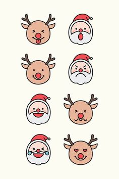 Santa and Rudolph reindeer emoticon set isolated on beige background vector | premium image by rawpixel.com / wan Christmas Doodles, Christmas Drawing, Christmas Stickers, Christmas Icons, Emoticon, Emoji, Beige Background, Background Patterns, Handmade Christmas