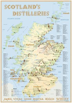 Map poster with Scotland's whisky distilleries #map #scotland #whisky #whiskey