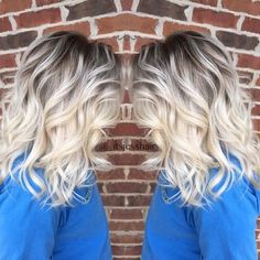 Best Hairstyle For Round Face Shape Awesome Cool Ideas: Women Hairstyles Curly Long women hairstyles ponytail.Women Hairstyles With Glasses Face Shapes bob cut hairstyles half up. Ombré Hair, Hair Dos, New Hair, Blonde Ends, Icy Blonde, Blonde Highlights, Blonde Balayage, Winter Blonde Hair, Bright Blonde