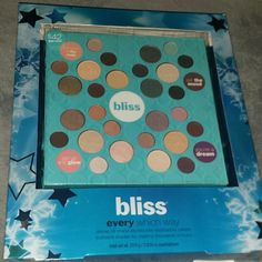 NWT BLISS EVERY WHICH WAY EYESHADOW PALLETTE Has 4 different parts such as Get up and glow, you're a dream, set the mood, look great in the nude. Has 28 shadows total. Beautiful shimmer and matte colors, buildable for making many different looks. Awesome pallette! bliss  Makeup Eyeshadow