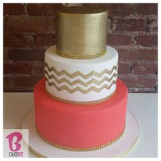 Coral and Gold Wedding Cake  Photo taken by @bcakeny on Instagram, pinned via the InstaPin iOS App! (11/09/2014)