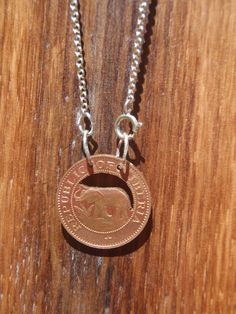 Republic of Liberia Coin Necklace with Elephant