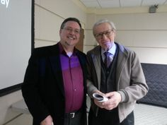 """Mark Vogel with """"The Amazing Kreskin"""" at Mark's Jack the Ripper Lecture at the West Caldwell, NJ Library"""