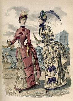 Walking or seaside dresses, mid-1880s. Slim waists, slightly puffed sleeve and bustle is high.  Length of gown is floor-length, no train.