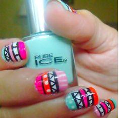 Nails coral orange mint pink zig zag