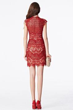 2016 Coniefox Cap Sleeve V-Neck Beaded Prom Sheath Cocktail Red Mini Dress,