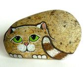 Hand Painted River Rock Cat, Petrified Cat