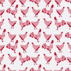Chicken Red on White fabric by thehighfiber on Spoonflower - custom fabric