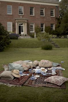 a picnic complete with persian rugs and blue/white ceramics