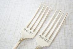 Stamped Wedding Cake Forks Bride and Groom Gift Vintage Silver Plate Set of 2 Couples Bridal Shower Hand Stamped Utensils