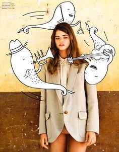 Hicham Riad funciona Com Art Kid Acne Estrela para Elle edição de junho Belgiums