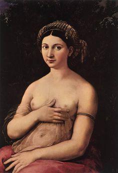 """RAFFAELO SANZIO. """"La Fornarina"""", 1518-19. Roma: Galleria Nazionale d'Arte Antica, Palazzo Barberini"""