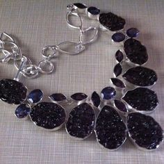 NEW Dark Pink Moldavite &African Amethyst Gorgeous Pink Moldavite with real African amethyst stones set in silver 925 stamped 18' total carat weight is 410 Jewelry Necklaces