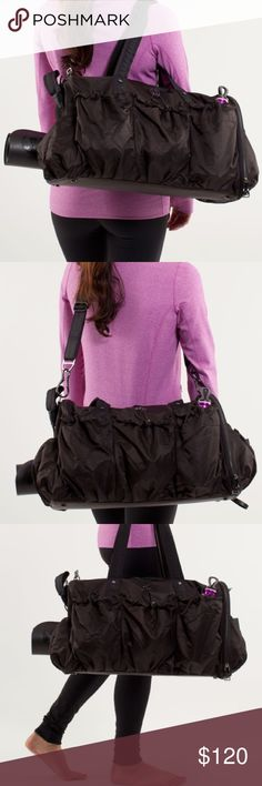 Lululemon Legendary Duffel Bag in Black - Rare Please check the last photo to see the details. Every girl needs to bring her gear to the studio in style and this bag definitely does that! It has a lot of pockets to hold everything from lip balm, to deodorant to sweaty workout clothes! Its long strap will let you put the bag across your body while the short straps and perfect for carrying. It even has a pocket for shoes so they don't get dirt and grime all over clothes! lululemon athletica…