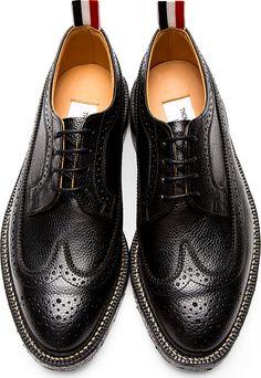Thom Browne - Black Pebbled Leather Longwing Brogues | SSENSE