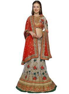 Off White Net Embroidery Work A Line Lehenga Choli 87490 3c8abfd80