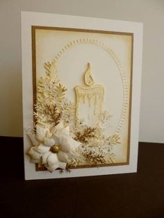 Christmas card: gorgeous in cream with sepia...die cut poinsettea, folliage and candle...embossing folder oval frame background... Beautiful!