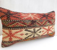 Hand embroidered Kilim Lumbar Ethnic Bolster by PillowTalkOnEtsy, $58.00
