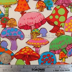 1/4 Yard COLORFUL MUSHROOMS 18 x 22 White Quilt Fabric - FQ Fat Quarter - Retro Style 60s 70s Design - New Fabric (Not vintage)