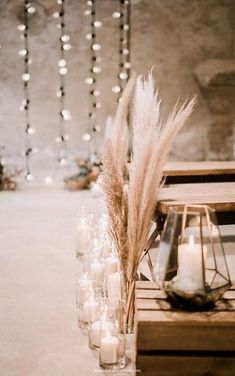 romantic wedding aisle decorations with candles and pampas grass #obde #weddingideas2019