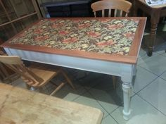 Fabric Topped, restored old pine table £179