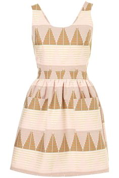 pink + golden beige, geometrical patterns, big pockets