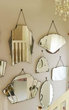 For a simple, but chic vintage decor display, group mirrors together on a bare wall, dress up a mirror with fairy lights or create a stunning bedhead. Vintage Mirrors, Vintage Decor, Mirrors With Chains, Home Living Room, Living Spaces, Florida Home, Fairy Lights, Hallway Ideas, Antiques