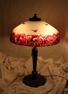 Pittsburgh Table Lamp Chipped Ice Reverse Painted Roses Butterfly Signed | eBay