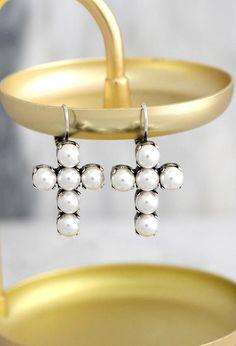 Cross Earrings Cross Drop Earrings Pearl Earrings Bridal Click to purchase >> http://etsy.me/2gYMNax