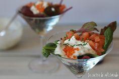 la cocina de aficionado: Ensalada de salmón marinado y salsa de yogur