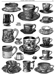 cups and saucers. My husband has a collection of the vintage mustache cups.