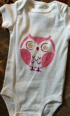 stencil + fabric paint + onesie