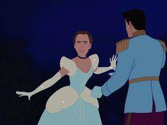 Nicolas Cage convertido en las Princesas Disney