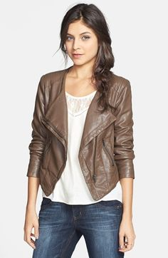 GREAT GIFT!!!  Faux leather moto jacket - comes in black too!  $68