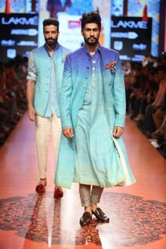 """Stylefluid Trendz: Tarun Tahiliani presents an Artsy collection inspired by the works of 'The Singh Twins' """" Lakme Fashion Week Mens Indian Wear, Mens Ethnic Wear, Indian Groom Wear, Indian Men Fashion, Indian Man, Indian Ethnic, Fashion Men, Tarun Tahiliani, Sherwani"""