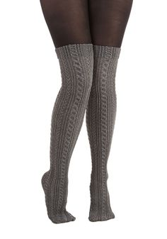 That's What I'm Stocking About Tights. What could be better than over-the-knee socks, you ask? #grey #modcloth