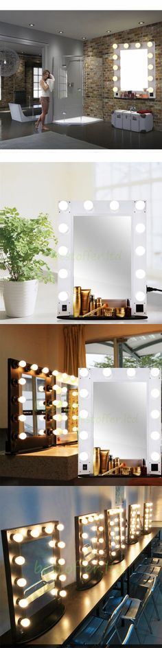 Makeup Mirrors: Factory Sale! Hollywood Lighted Makeup Vanity Mirror Dimmable 12 Led Bulbs Black BUY IT NOW ONLY: $228.9