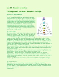 Les 15 chakra en kruiden by kruidje les via internet - kruidenkennis via slideshare