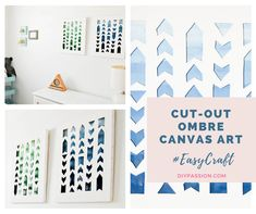 How to Create Colourful & Inspired Cut-out Ombre Canvas Art - DIY Passion Cut Out Canvas, Blank Canvas, Dollar Tree Crafts, Diy Canvas Art, Paper Design, Easy Crafts, Picture Frames, Craft Projects, Paper Crafts
