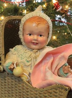 "Big 24"" Old, Antique, Composition and Cloth Baby Doll in vintage clothing"