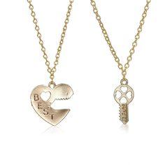 "Sexy Sparkles 2pcs Broken Heart Lock & Key "" BEST FRIENDS "" Pendants Necklace"