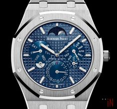 """Audemars Piguet released the new thinnest automatic perpetual calendar, introducing the """"AP Royal Oak RD Perpetual Calendar Ultra-Thin"""". Audemars Piguet Diver, Audemars Piguet Watches, Audemars Piguet Royal Oak, Old Watches, Watches For Men, Ap Royal Oak, Nyc Blog, Luxury Portfolio, Perpetual Calendar"""